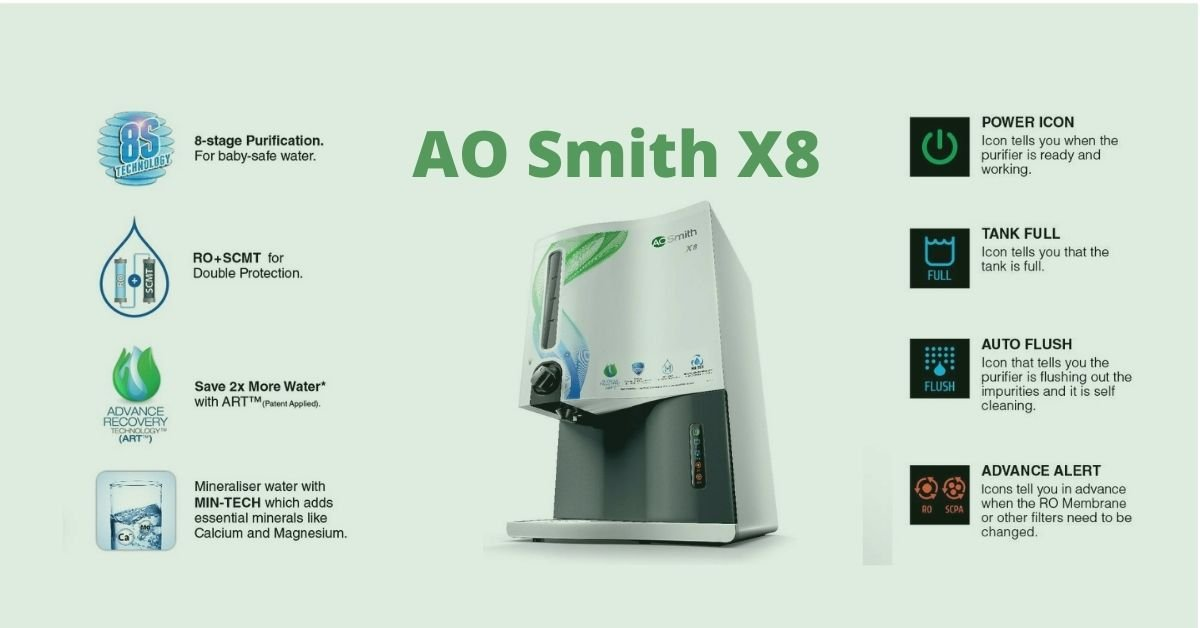 AO Smith X8 Green RO+SCMT Water Purifier Feature & Review